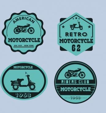 motorbike logo sets blue retro flat design