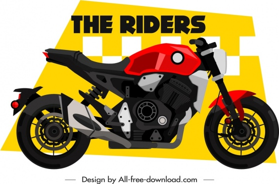 motorbike race banner sports bike icon decor