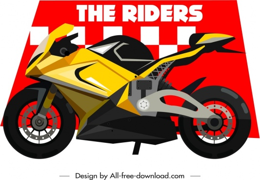 motorbike race banner template modern bike icon decor