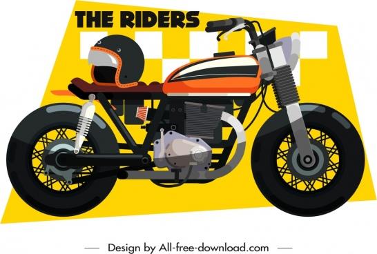 motorbike race banner vehicle icon decor
