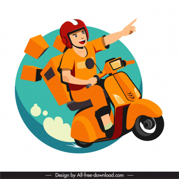 motorbike shipper icon motion sketch cartoon character design