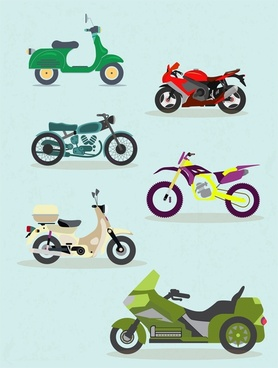 motorbikes icons sets vector illustration with various styles
