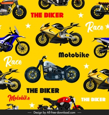 motorbikes pattern modern models sketch colorful repeating design