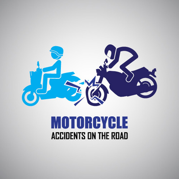 motorcycle accidents caution logos vector
