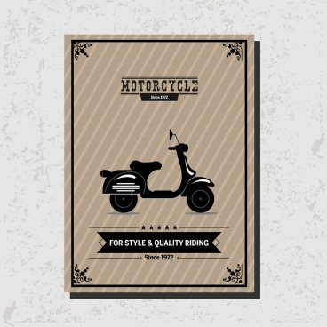 motorcycle advertisement vintage bike icon decoration