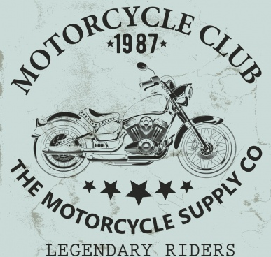 motorcycle club banner vintage design black white ornament