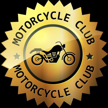 motorcycle club logo shiny golden circle design