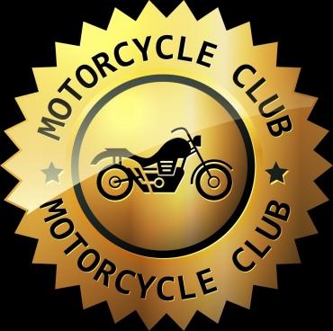 motorcycle club logo shiny golden circle design