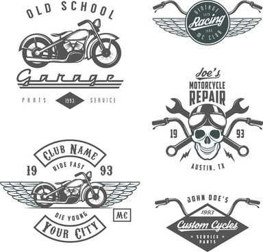 motorcycle logos creative retro vectors