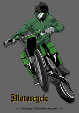 motorcycle racer icon modern dynamic 3d sketch