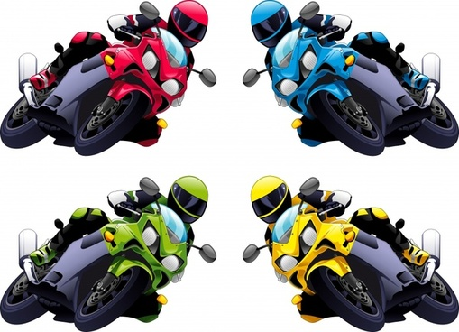 motor racer icons modern colored 3d design