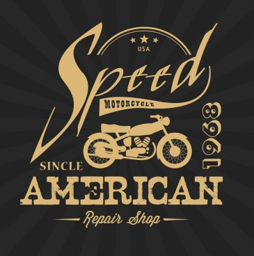 motorcycle repair shop logo retro silhouette calligraphy design