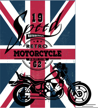 motorcycle show banner design on flag background