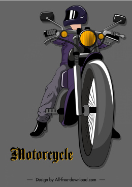 motorcyclist icon colored 3d sketch