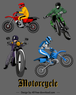 motorcyclist icons dynamic design colored 3d sketch