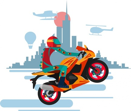 motorcyclist performance banner illustration with one wheel style