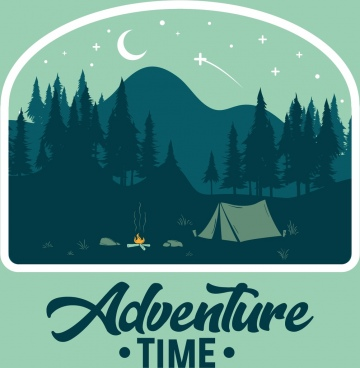 mountain adventure banner night stars moon tent icons