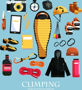 mountain adventure design elements personal tool accessories icons