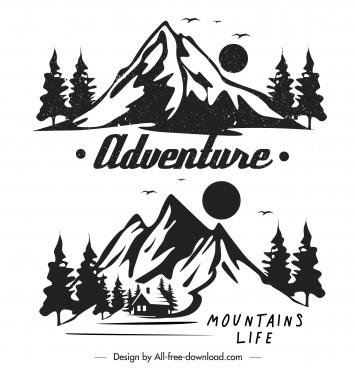 mountain adventure logotypes black white retro handdrawn sketch