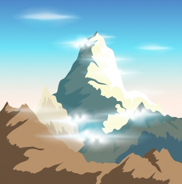 mountain background bright shiny cartoon design