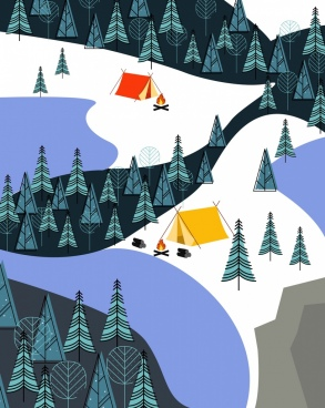 mountain camping drawing tents campfire trees icons