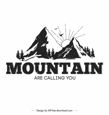 mountain camping logo template retro handdrawn design