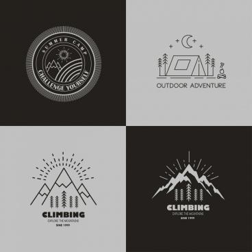 mountain camping logotypes black white sketch