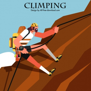 mountain climbing banner climber icon colored cartoon character