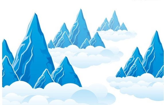 mountain cloud landscape vector graphics