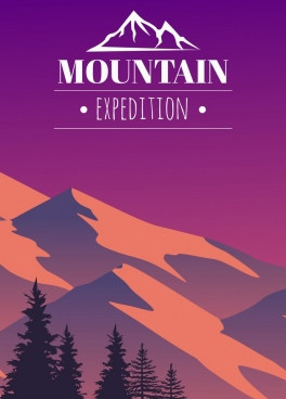 mountain exploring tour advertising dark violet design