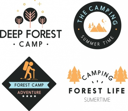 mountain forest camping logotypes various colored flat icons