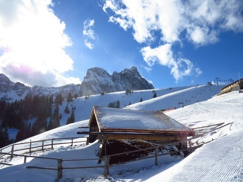 mountain hut snow