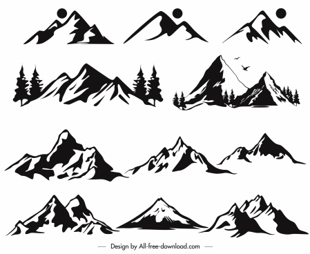 mountain icons black white retro handdrawn sketch