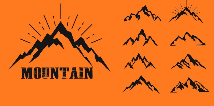 mountain icons collection various flat sketch