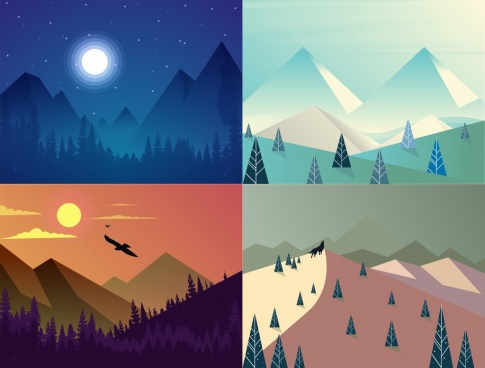 mountain landscape background sets multicolored day night design