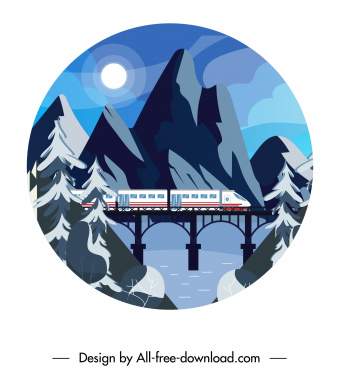 mountain landscape background train bridge moonlight sketch
