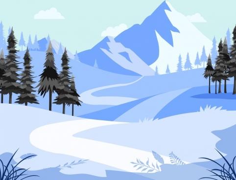 mountain landscape background winter snow theme cartoon design