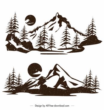 mountain landscape icons retro flat design