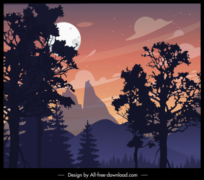 mountain landscape painting moonlight decor classic design