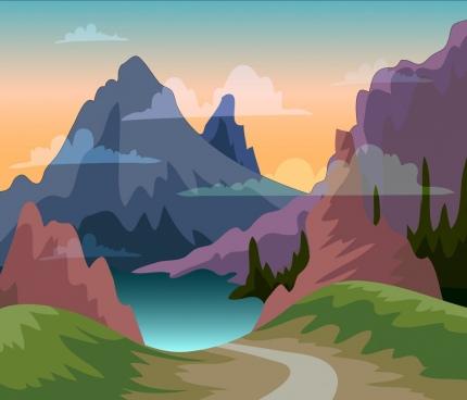 mountain landscape painting multicolored transparent decor