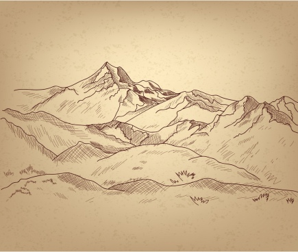 mountain landscape sketch handdrawn style