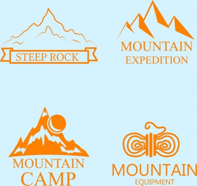 mountain logo collection various colored sketch