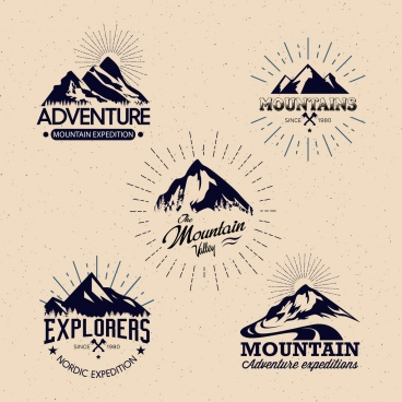 mountain logotypes collection classical design various shapes