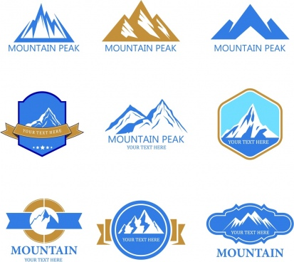 mountain logotypes various colored shapes isolation