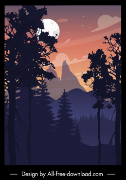 mountain moonlight scenery painting dark colored classic decor