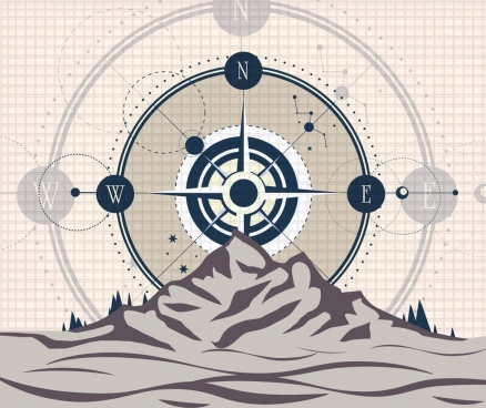 mountain navigation background mountain compass icons sketch