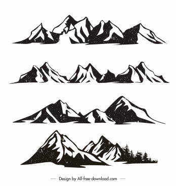 mountain range icons black white vintage handdrawn