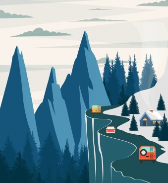 mountain road landscape painting colored cartoon design
