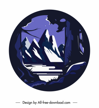 mountain scene background dark classic decor circle isolation