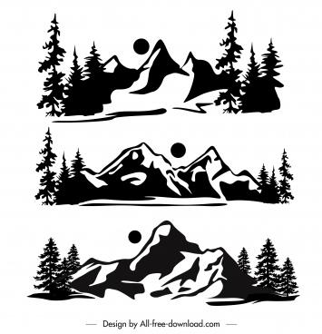 mountain scene icons black white handdrawn retro design